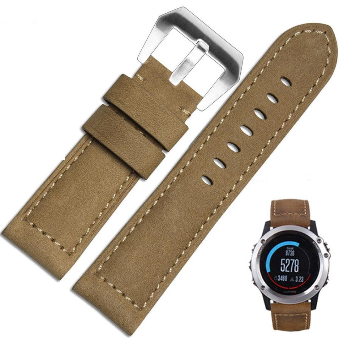DEESEE(TM) Genuine Leather Watch Replacement Band Strap + Lugs Adapters For Garmin Fenix 3 (khaki)