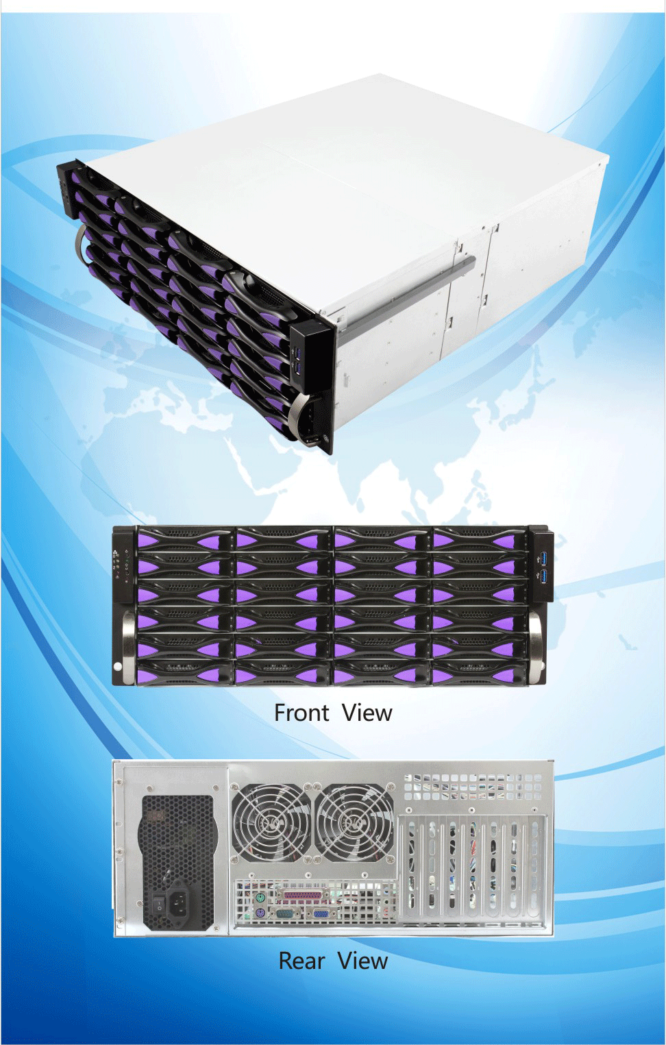 ED424H55 19 inch 4U JBOD storage case Hot swap 12Gb server rack case 24 bays CCTV NVR sever chassis