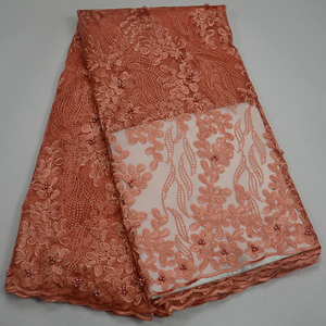 Peach Beaded Net lace African Tulle lace fabric Stones Embroidery Swiss Guipure French lace fabric