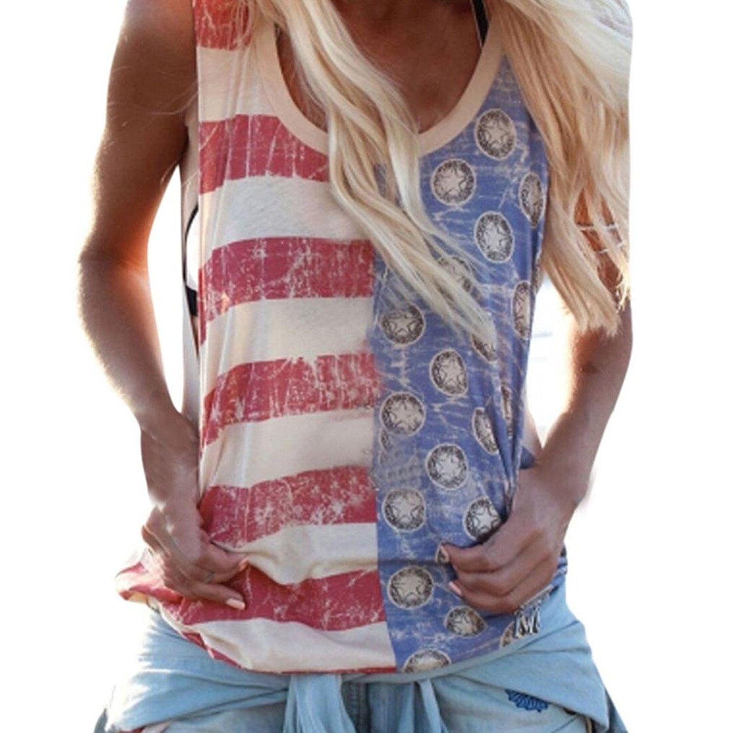 Women Blouse,Sexy Flag Print Camisole Ladies Striped Shirt Party Crop Clubwear Axchongery