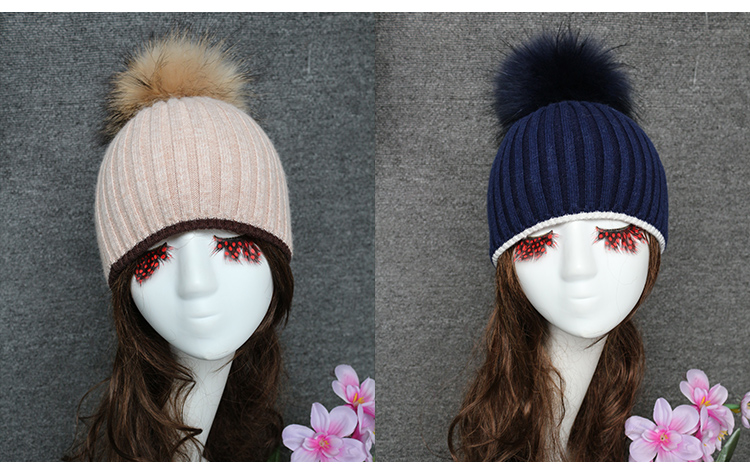 afca7148 High Quality Women Angora Knitted Winter Hat Beanie With Pom, View ...