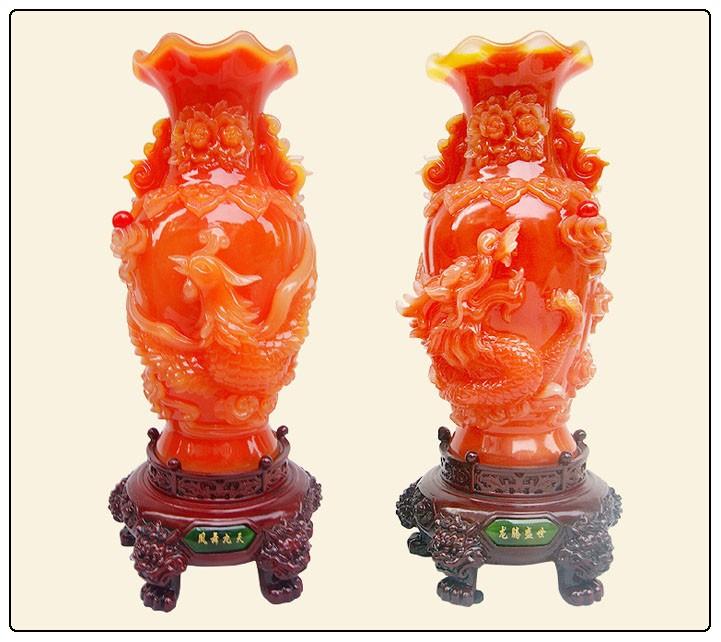chinois dragon et phoenix vases fengshui vase bon pour la. Black Bedroom Furniture Sets. Home Design Ideas