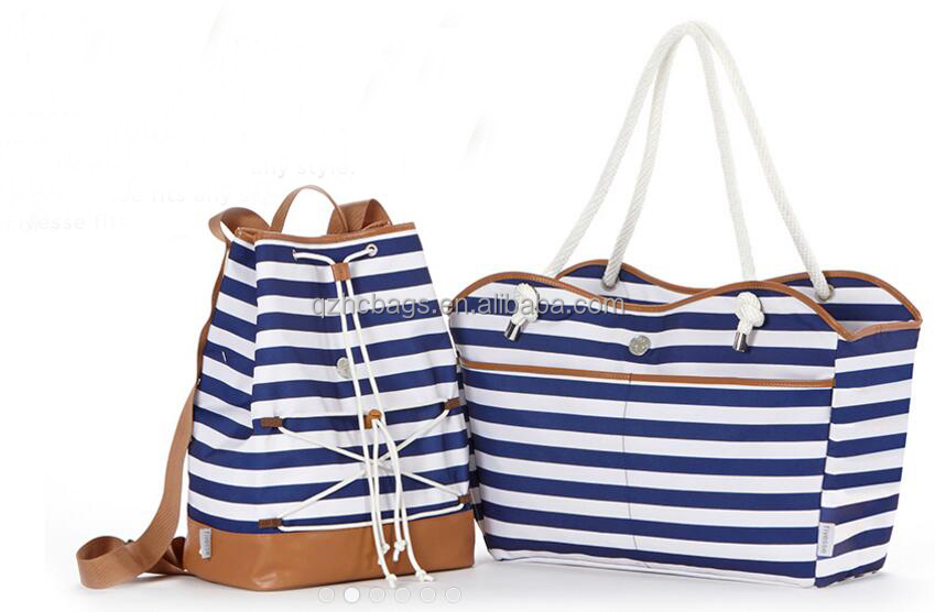 black and white Large Stripe Nautical Patriotic beach bag tote HCBC0002