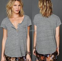 newest women t shirts design with button cheap t shirts, short sleeve hemp cheap t shirts
