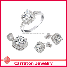 Factory price AAA grade cubic zirconia solid silver wedding bridal jewelry set