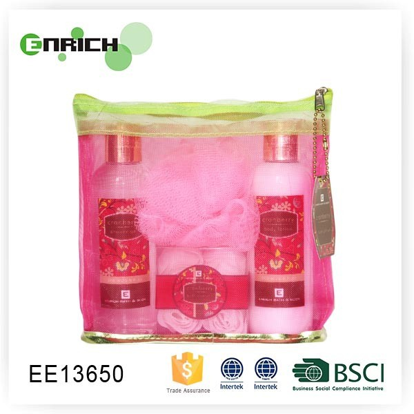 bath shower gel and whitening lotion gift set in small Mesh Bag