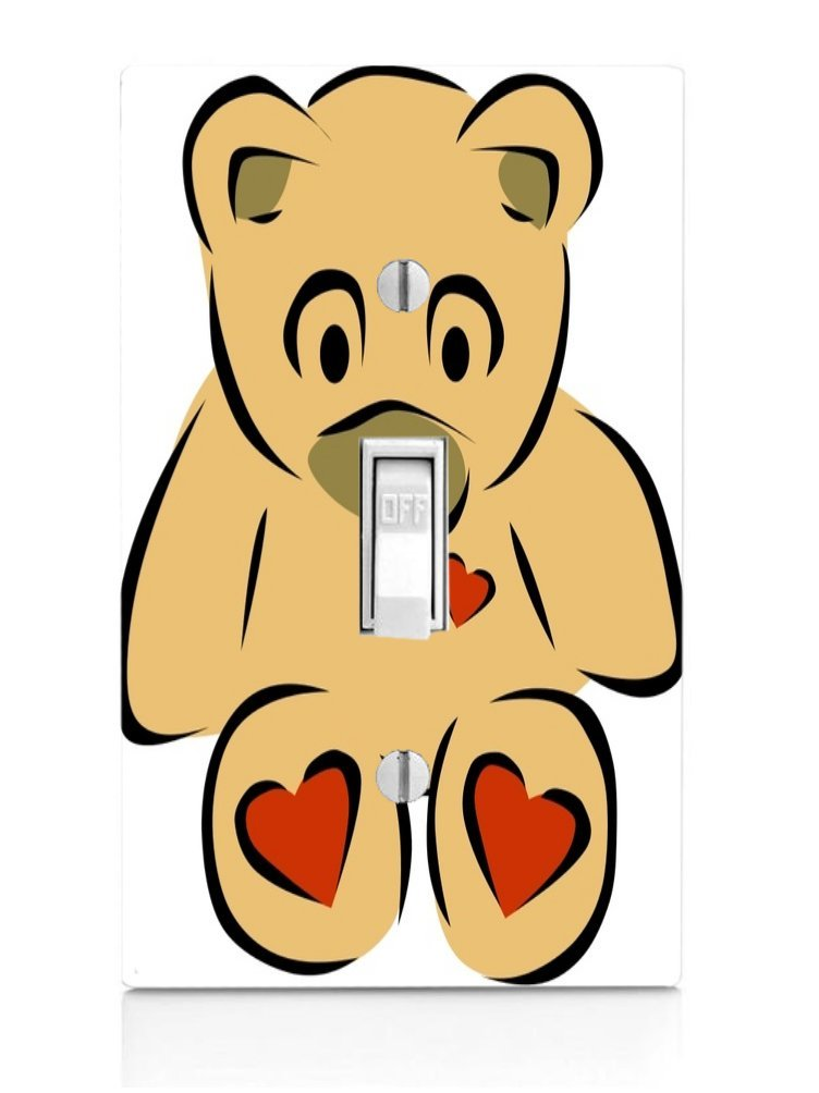 Vinyl Decal Printed Design Teddy Bear with Hearts Light Switch Plate