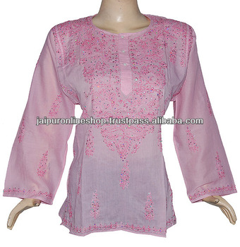 Lucknow Chikan Embroidered Kurti Suppliers