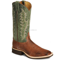 brown green genuine leather western Smooth ostrich crepe cowboy boots wholesale