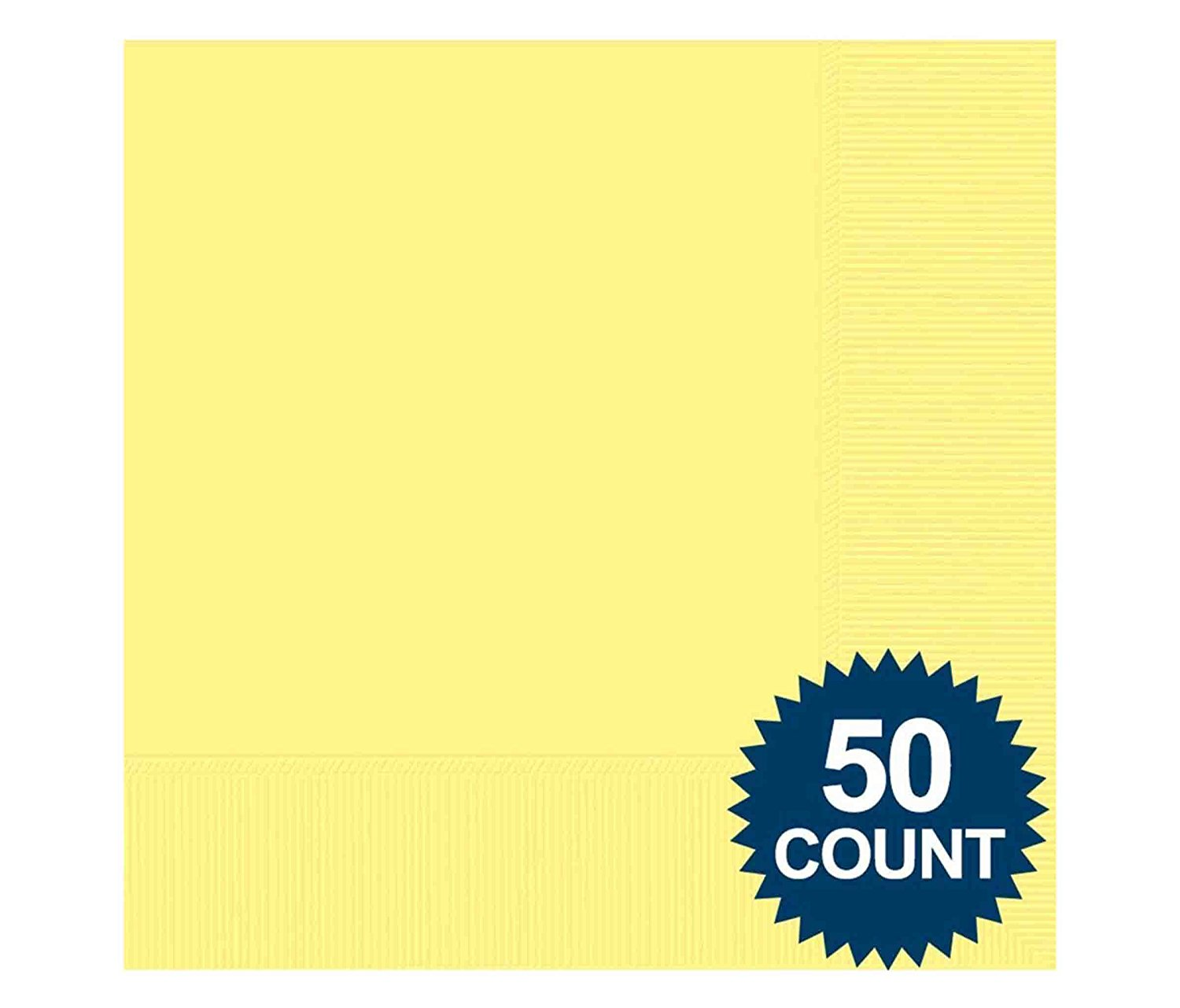 Mozlly Multipack - Amscan Light Yellow 2 Ply Luncheon Napkins - 6.25 x 6.25 inch - Solid Color - Easter Theme - Party Tableware (50pc Set) (Pack of 6)
