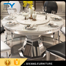 2017 round marble top stainless steel frame dinner table and dining chairs for sale CT012