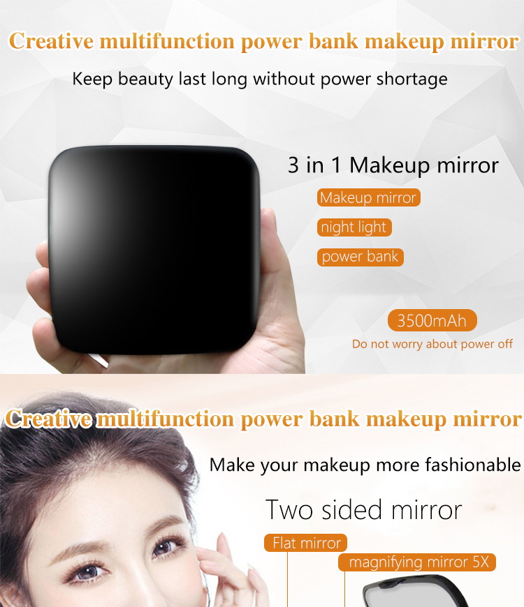 Low Price Hand Held Small Compact Led Mirror Power Bank from Shenzhen