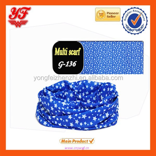 Wonderful blue star print custom multifunctional headwear, seamless headband