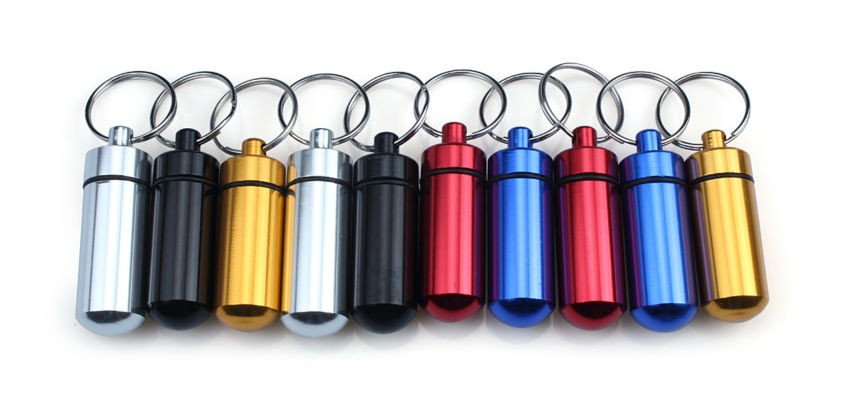 OEMPROMO Colorful and mini aluminium pill case and pill box keychain