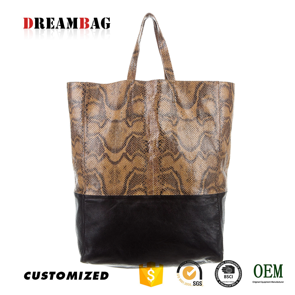 Guangzhou high quality OEM python texture leather land handbags