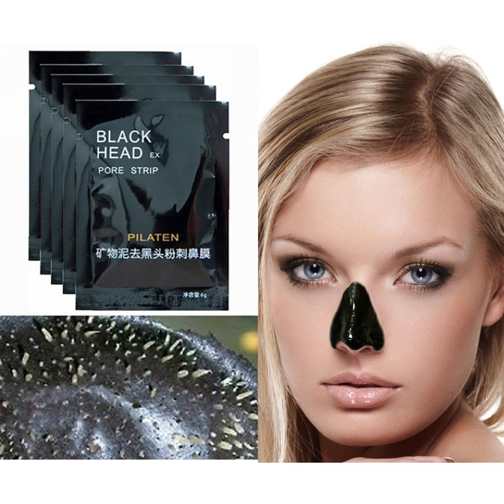 KINGEAR PLDH62 Blackhead Removal Mask, Blackhead Acne Removal Deeply Cleaning Blackhead Mineral Mud Mask Peel-off Mask for Nose(10 PCS