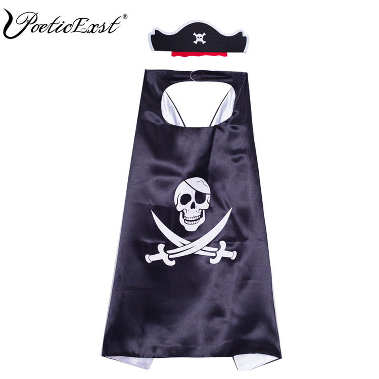 PoeticExst 卸売カスタム黒シンプルなコスプレ衣装キッズ海賊マスター岬と帽子