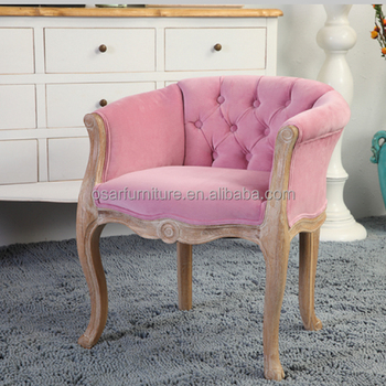 Luxury Pink Velvet Upholstered Accent Tub Dining Chairs For Cafe Shop