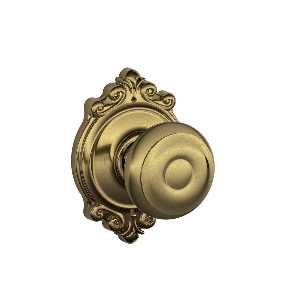 Schlage F10 GEO 609 BRK Brookshire Collection Georgian Passage Knob, Antique Brass