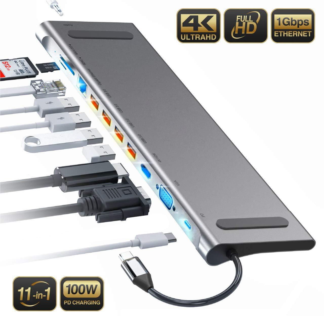 11 Trong 1 USB C HUB Với HDML 4K Và 87W PD Sạc Adapter Đối Với Macbook Pro Và huawei
