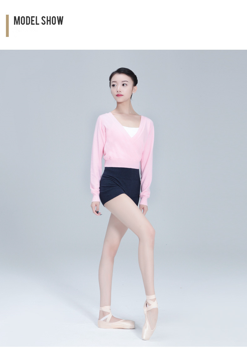 117146005 Adult Long Sleeve Cross Front Warm Ups Dance Practise Sweaters