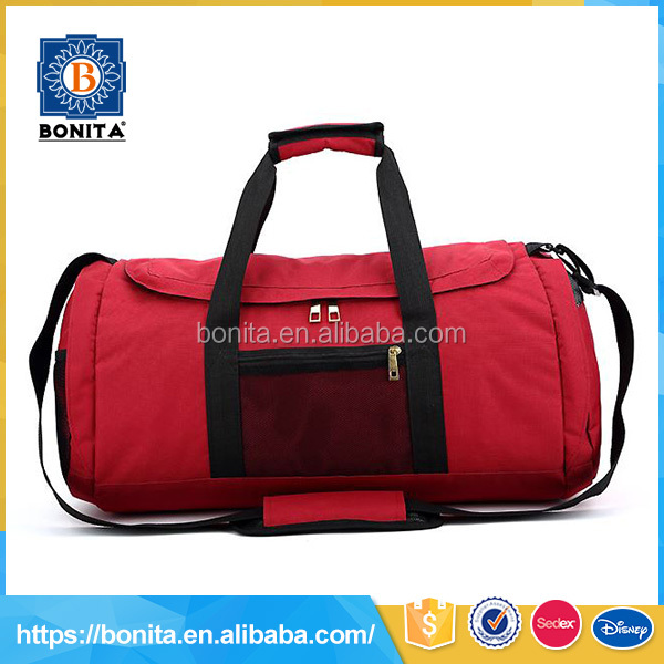 Cylindrical shape waterproof and lightweight red 600D sports travel bag