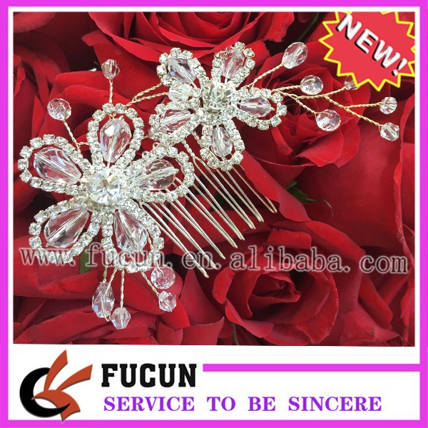 Fashion Silver Tone Elegent Flower Bridal Wedding Diamante Hair Comb Clip