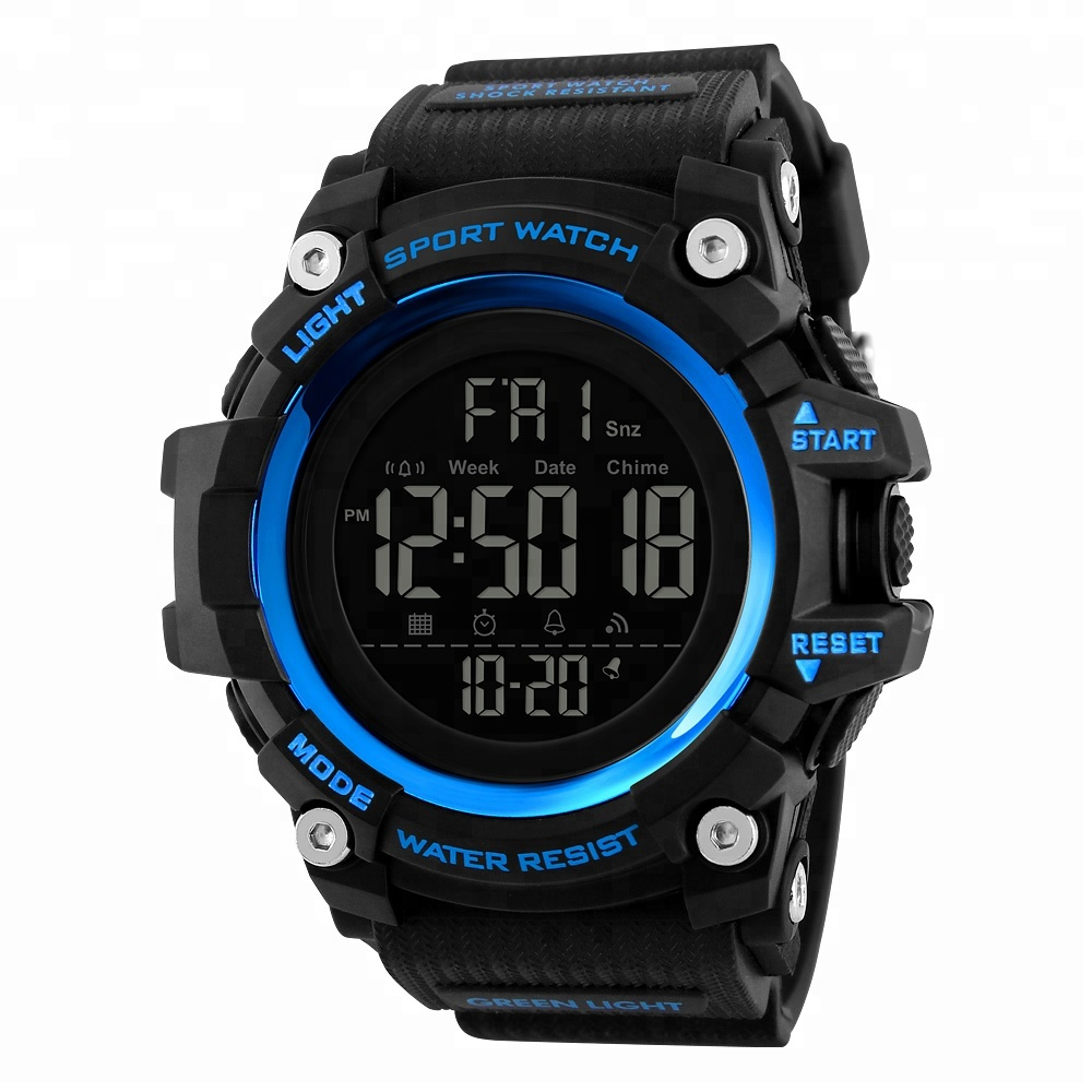 skmei 1384 make in china digital sports hand band plastic men watch, Black;red;blue;army green;khaki;camouflage