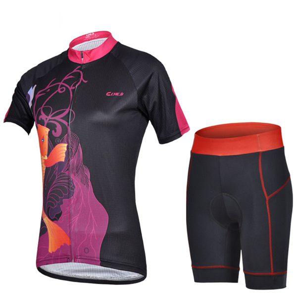 Carp Black cycling jersey shorts cycling wear set Cheji Women bicycle summer short-sleeve set