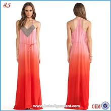Latest dress ombre dye and beaded maxi design ladies long dress