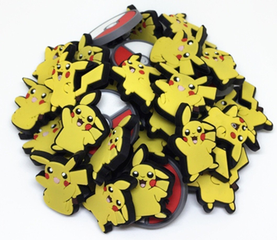 c96698803 Get Quotations · Charm™ Set of 4 Jibbitz (Generic) PVC 3 Pikachu 1 Pokeball  Pokemon Go