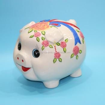 Whole White Ceramic Hand Painted Antique Piggy Bank
