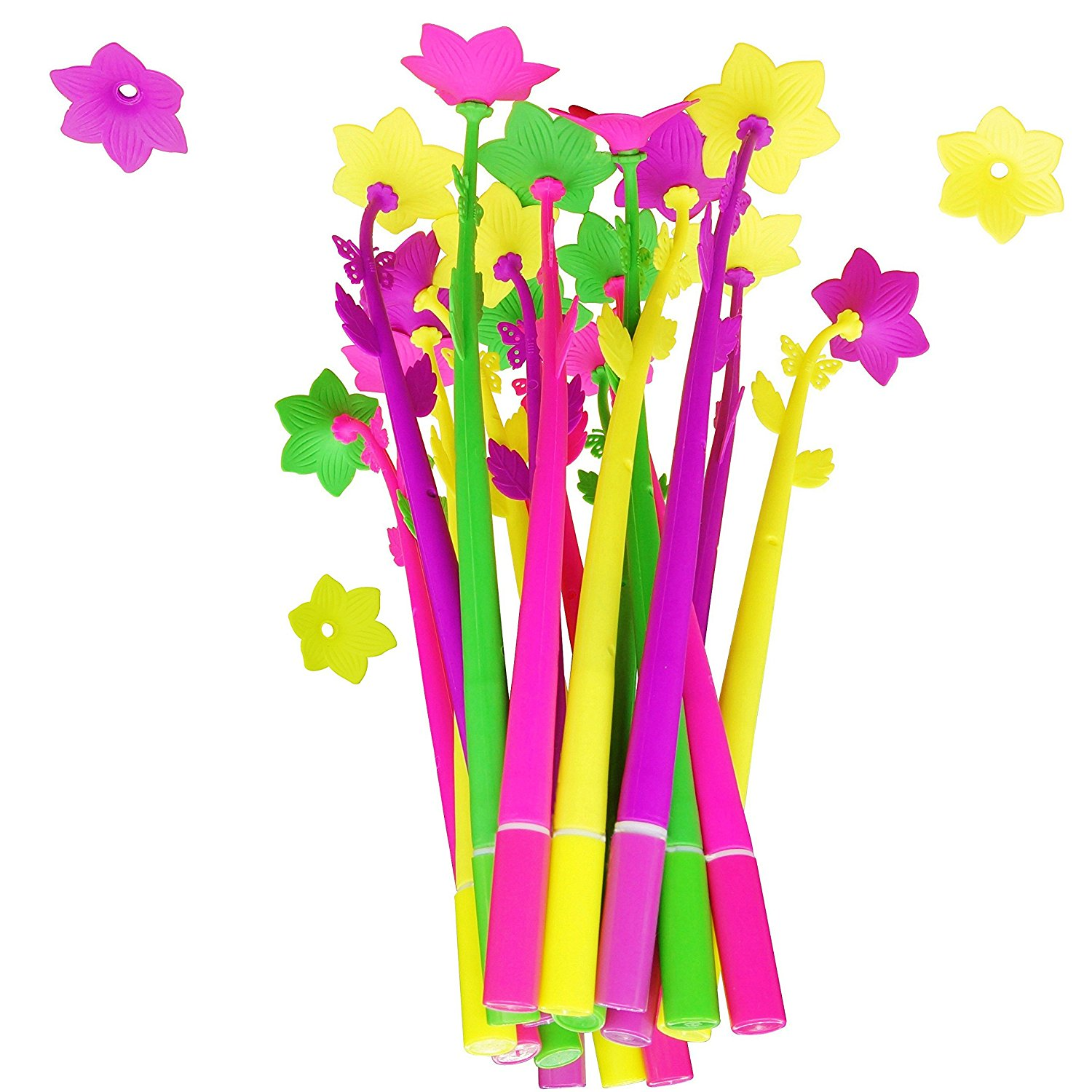 BUOP Daffodil Flower Style Ball-Point Pens, Extra Fine Black Gel Ink Pens, Assorted Color Flower Pens, Creative Stationery Gift, Dozen (12pcs) Box
