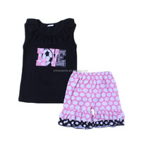 New arrival school wear girls boys football love with matching pink polka dots shorts kids embroidery clothes