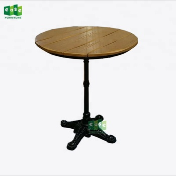 Black cast iron base poly wood round outdoor cafe table (E9601TPR)