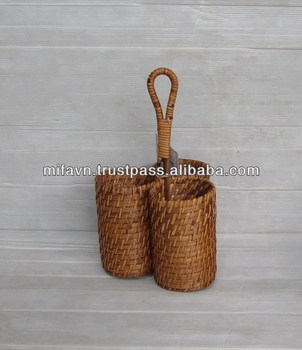 Rattan and bamboo wine bottle holder (3pcs)