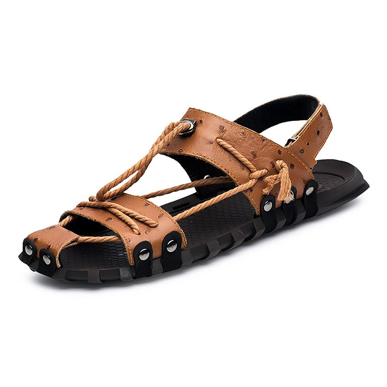 e1d62dc6d68bd Mens Sandals Genuine Leather Beach Slippers Casual Hemp Rope Non-Slip Soft