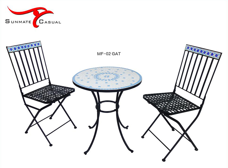 Leisure Outdoor Furniture Garden Patio Bistro Balcony Mosaic Coffee Table and Chair Set