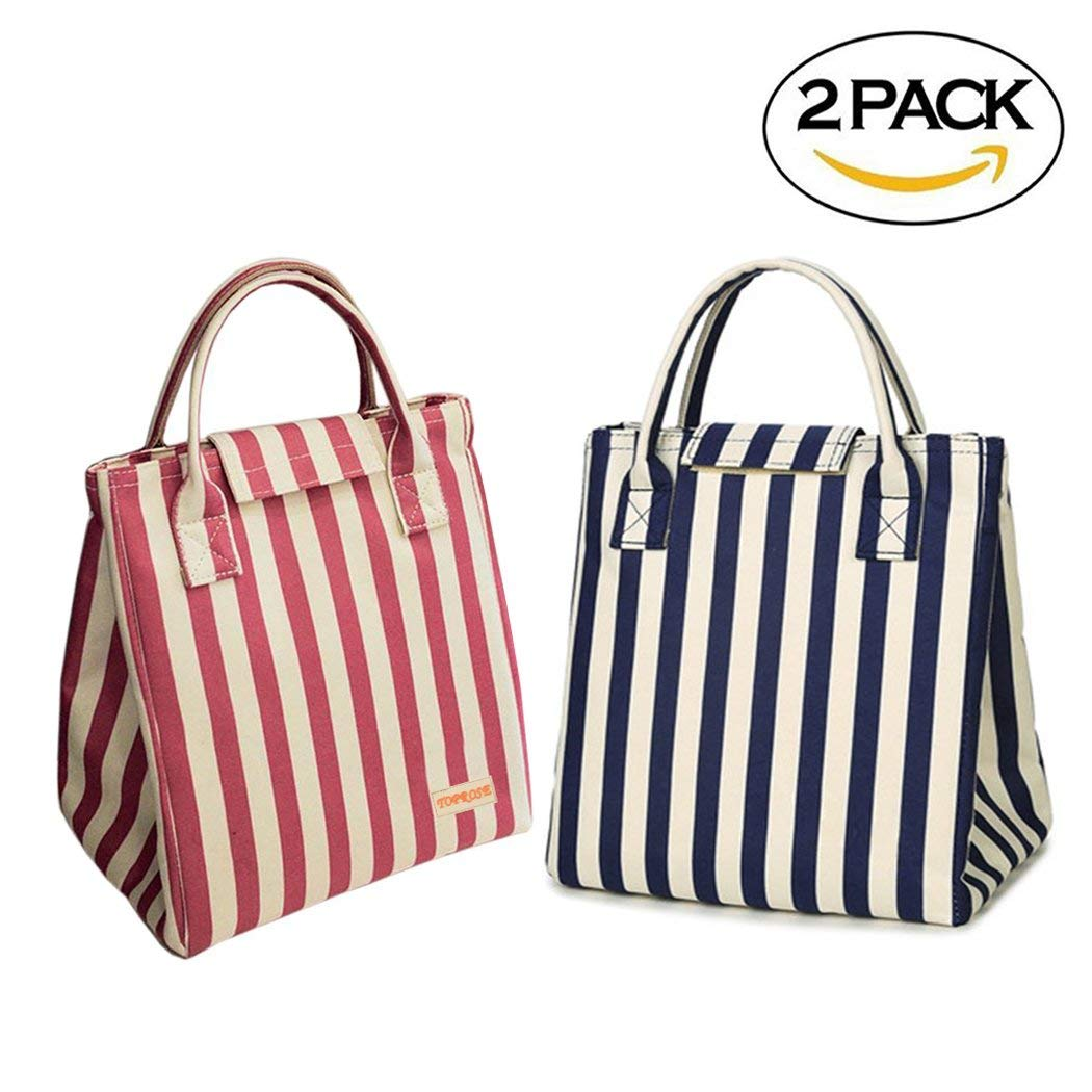 edd0f20a11 Get Quotations · Bento Lunch Bag/Tote Bag - 2Pcs Reusable Insulated Lunch  Box Tote Bag, Classic