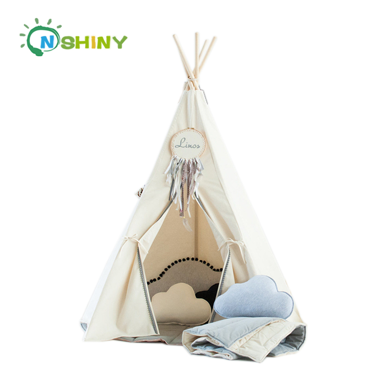 Large Canvas Kid Teepee Tent Carry Case Tall Multiple Colors With 4 Wooden Pole Baby Castle