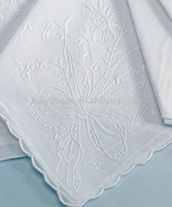 wholesale Lace-edge Embroidery pure white Handkerchief For Lady