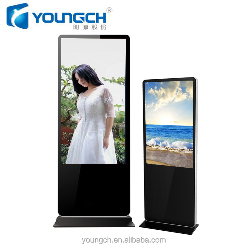 Metal steel weather proof water proof sunlight readable 42 inch ultra thin popular totem advertising