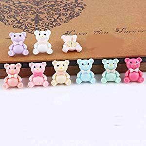 Creative Office Item/Colorful bow-knot bear Series Pushpins/12 Piece/Random Color