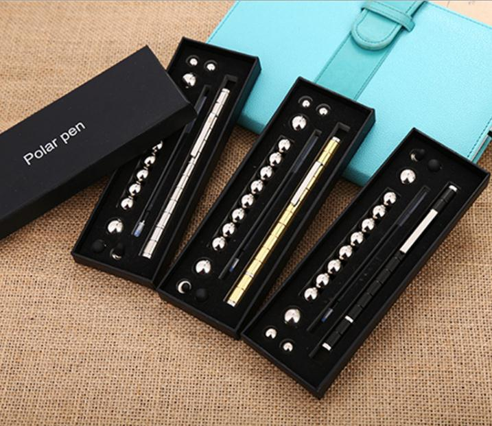 Stress Reducer Relief Toys Gift Box funny black golden kits Fidget magnetic polar pen with stylus ball pen