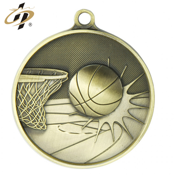 Wholesale antique gold cheap casting alloy metal basketball award medals