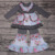 Zhihao Hot Sale Wholesale Long Sleeve Ruffle Boutique Outfits Flower Girls Patchwork 2pcs Clothing Set Kid Fashion Clothes Store