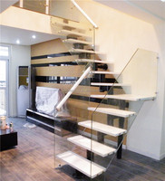 Internal home use glass wood floating stairs design