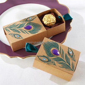 Peacock Feather Candy Boxes Drawer Design Wedding Favors Faux Rhinestone Kraft Paper Gift Boxes