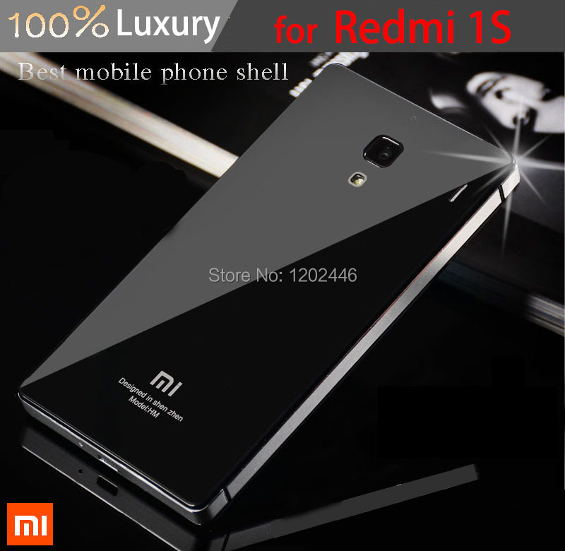 hot sale online 29b55 a4548 33 Colors,Toughened Glass Back Cover And Aluminum Frame For Xiaomi redmi 1s  Luxury Mobile Phone Battery Cover for redmi 1S