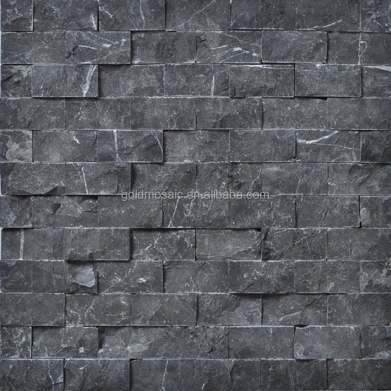 JY-S-02 revestimento do Piso de pedra 3D Telhas de mármore preto ...